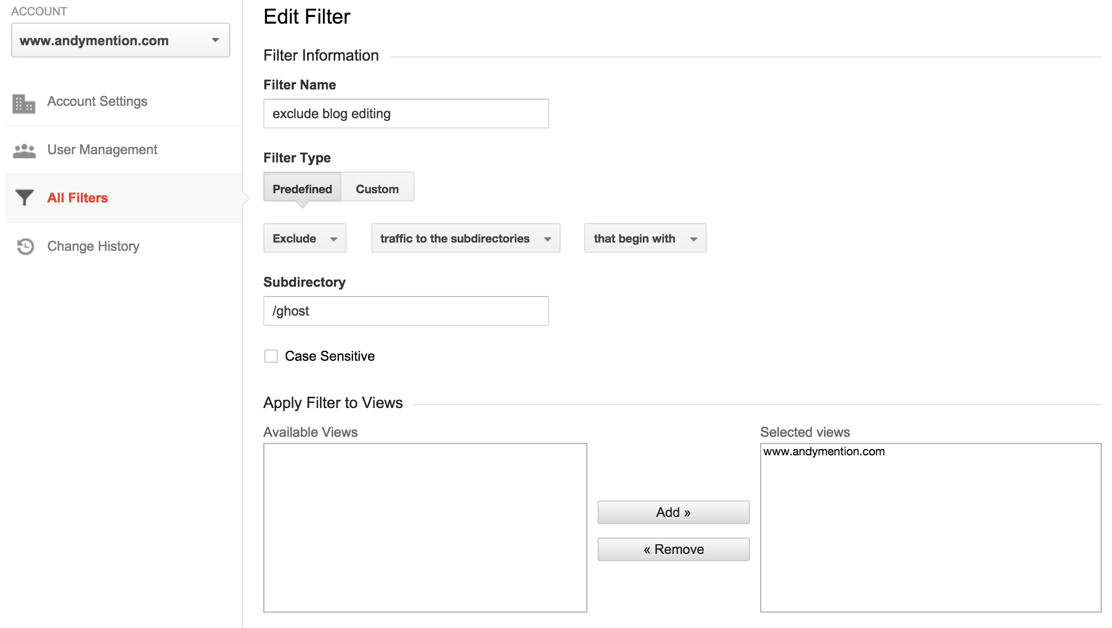 exclude filter